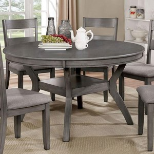 Vintage Round Dining Table with Grey Finish and One Shelf