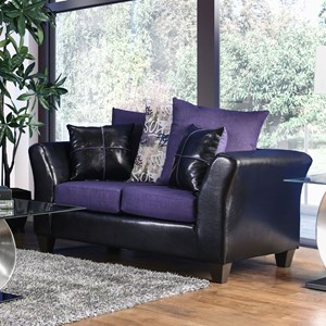Contemporary Two Tone Loveseat with Faux Leather and Scatter Pillows
