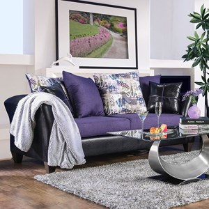 Contemporary Two Tone Sofa with Faux Leather and Scatter Pillows
