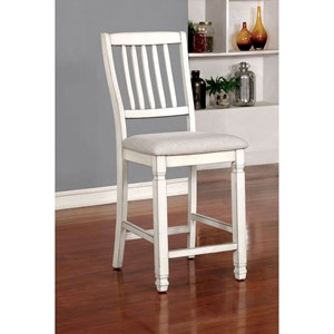 Set of 2 Cottage Style Counter Height Chairs with Upholstered Seats