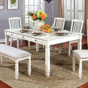 Cottage Rectangular Dining Table with Six Built-In Storage Drawers