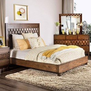 Contemporary Queen Size Bed with Laser-Cut Honeycomb Headboard