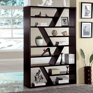 Contemporary Display Shelf with Zigzag Shelf Separation