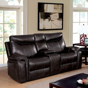 Transitional Reclining Love Seat with Storage Console