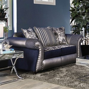 Traditional Fabric and Faux Leather Love Seat with Nailhead Trim