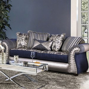 Traditional Fabric and Faux Leather Sofa with Nailhead Trim