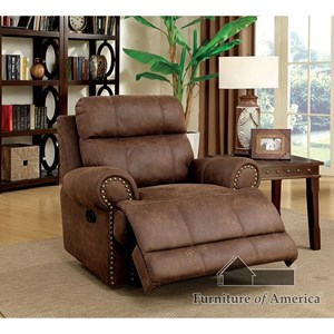 Transitional Recliner with Padded Headrest