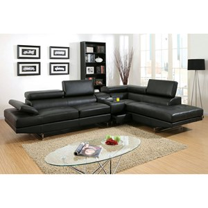 Stationary Sectional Sofa with Pneumatic Gas Lift Headrests and Bluetooth Speakers