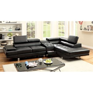 Contemporary Sectional Sofa with Speaker Console