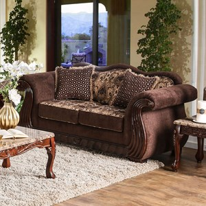 Traditional Love Seat with Carved Wood Trim