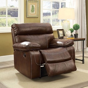 Transitional Recliner with Pillow Arms