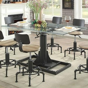 Modern Industrial Adjustable Dining Table with Glass Top