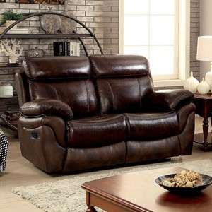 Casual Leather Match Reclining Loveseat