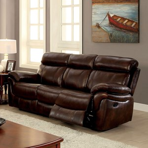 Casual Leather Match Reclining Sofa