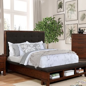Transitional Queen Low Profile Bed with Footboard Storage