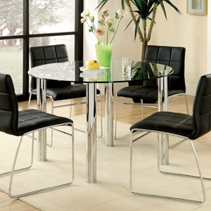 Contemporary Glass Top Round Dining Table