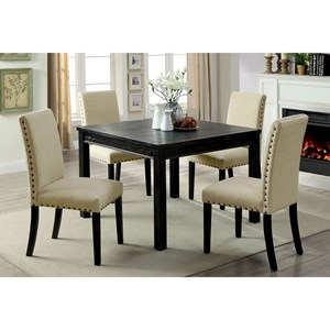 Transitional 5 Piece Dining Table Set