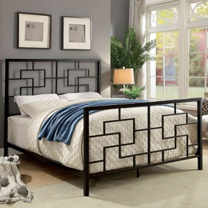 King Size Geometric Metal Bed