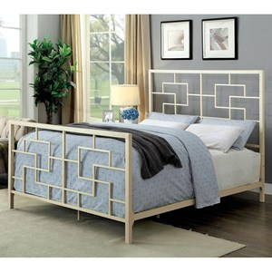 California King Size Geometric Metal Bed