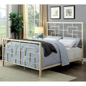 Queen Size Geometric Metal Bed