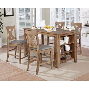 5 Piece Pub Dining Set with Storage in Table Base