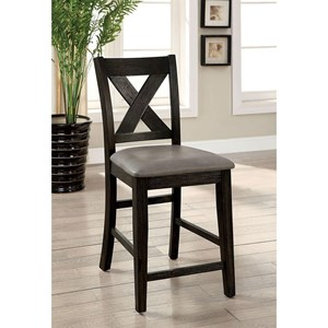 Set of 2 Counter Height Chairs with Faux Leather Seats