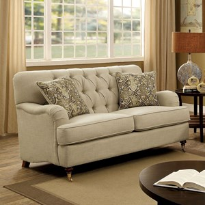 Traditional Loveseat with Deep Button Tufting