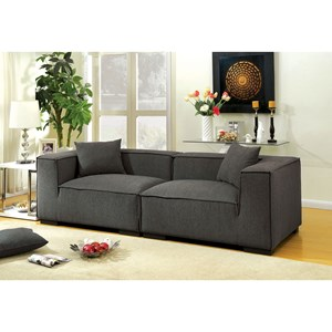 Contemporary Tuxedo Arm Sofa with Low Back