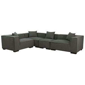 Contemporary Tuxedo Arm Sectional with Low Back