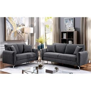 Contemporary Sofa and Loveseat Set with Metal Legs