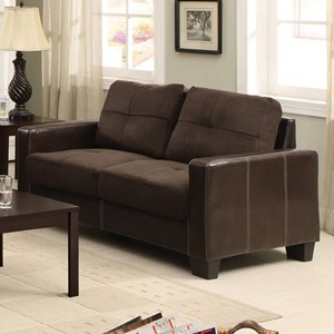 Contemporary Loveseat with Accent Stitching