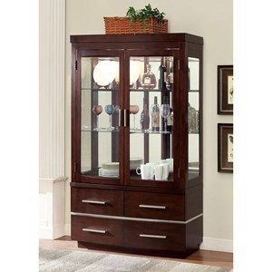 Glass Door Curio with Touch Base Lights