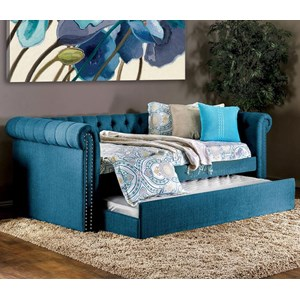 Transitional Tufted Twin Size Daybed with Trundle