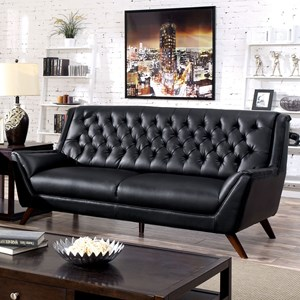 Mid-Century Modern Sofa with Tufted Back