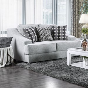 Contemporary Love Seat with Sloped Arms and Extra Deep Seats