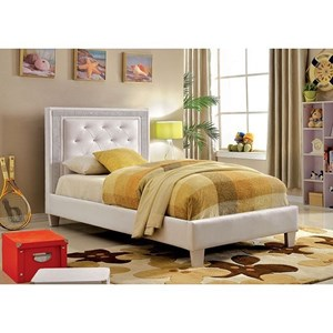 Glam Twin Bed with Tufted Faux Leather