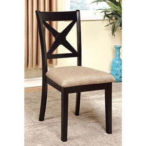 Transitional Side Chair with Upholstered Seat, 2 Pack