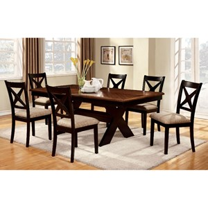 Transitional Two-Toned Table and 6 Side Chairs