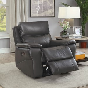 Casual Power Leather Match Recliner with Power Headrest and USB Port