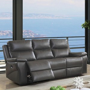 Casual Power Leather Match Reclining Sofa with Power Headrest and USB Port