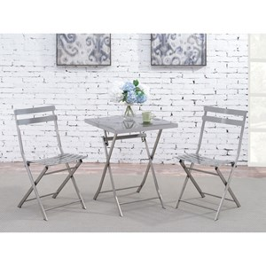 Contemporary Stainless Folding Table and Chair Set