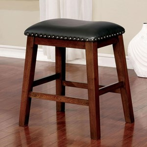 Set of 2 Transitional Counter Stools with Faux Leather Upholstery and Nailheads