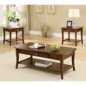 Transitional 3 Piece Table Set with Drawers