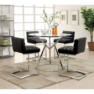 Contemporary Table and 4 Counter Height Chair Set