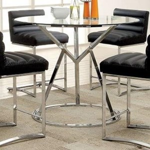 Contemporary Counter Height Dining Table with Glass top