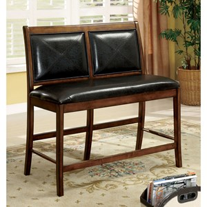 Transitional Counter Height 2-Seater Chair with Upholstered Seat and Back