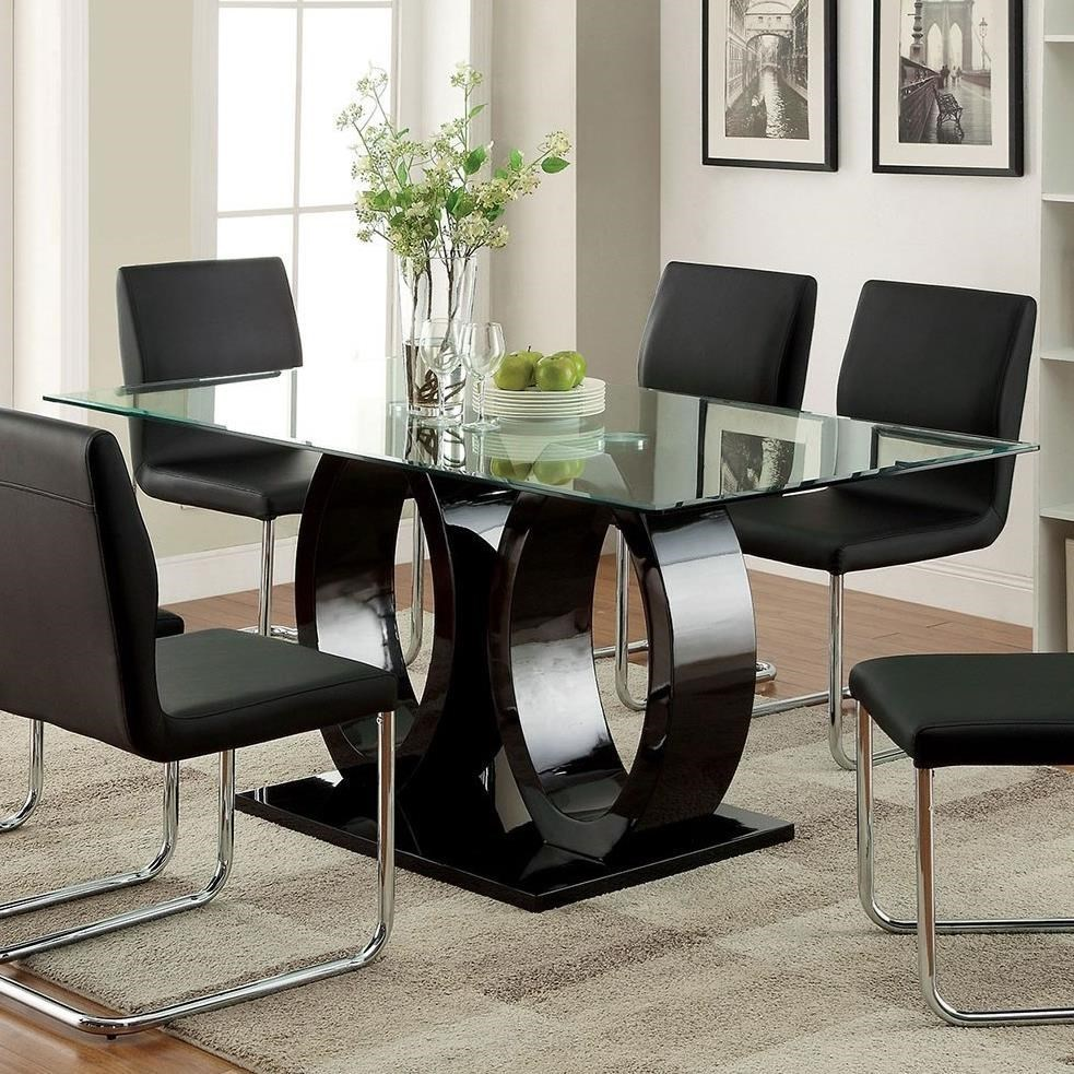 Lodia I Dining Table w/ 10mm Glass Top at Household Furniture