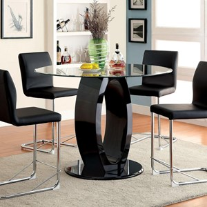 Contemporary Round Counter Height Table with Glass Top