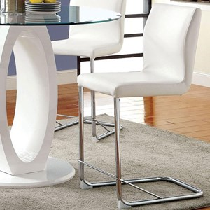 Set of 2 Contemporary Faux Leather Counter Height Chairs