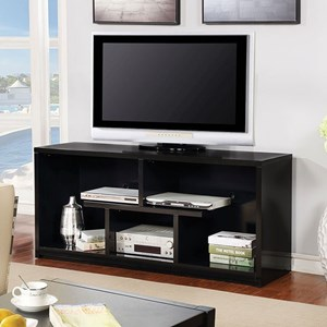 "Contemporary 60"" TV Stand with Open Shelving"
